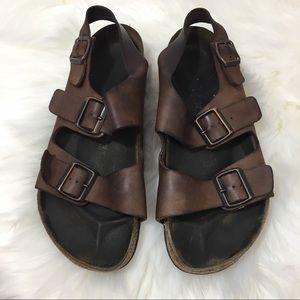{Birkenstock} Mens Leather Adjustable Sandals